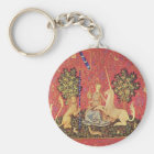 The Unicorn and Maiden Medieval Tapestry Image Keychain