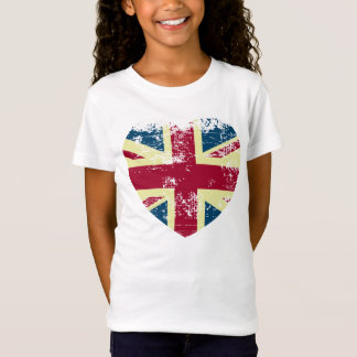 The Union Jack Flag Heart shape T-Shirt