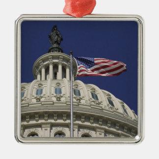 The United States Capitol, Washington, DC Silver-Colored Square Ornament