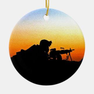 The United States Marine Corps' Hymn Round Ceramic Ornament
