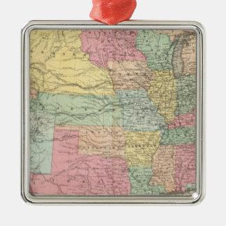 The United States Of America Silver-Colored Square Ornament