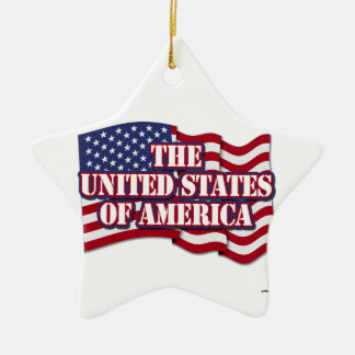 The United States of America with USA flag Ceramic Star Ornament