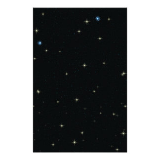 The Universe with Gold and Blue Stars Custom Stationery
