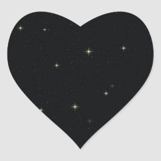 The Universe with Gold and Blue Stars Heart Sticker