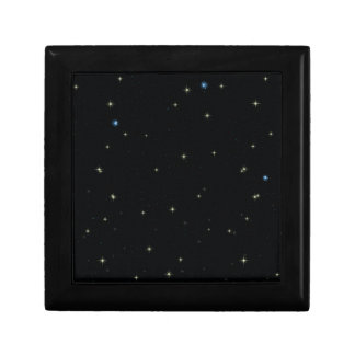 The Universe with Gold and Blue Stars Jewelry Box