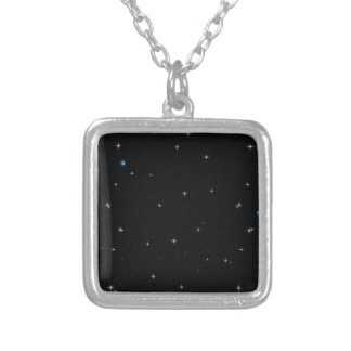 The Universe with Gold and Blue Stars Silver Plated Necklace