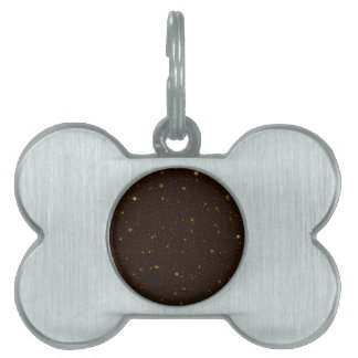 The Universe with Gold and Brown Stars Pet ID Tags