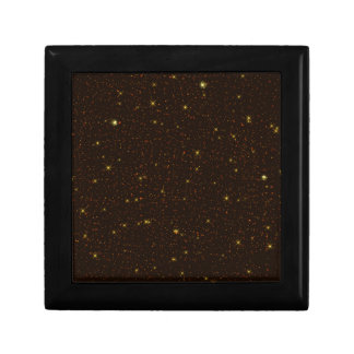 The Universe with Gold and Brown Stars Trinket Box