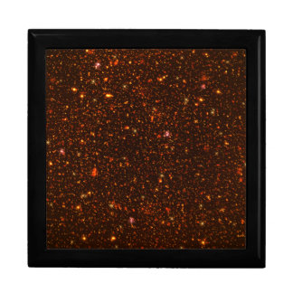 The Universe with Gold and Red Stars Jewelry Box