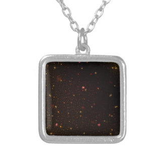 The Universe with Gold Stars Silver Plated Necklace