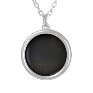 The Universe with White Stars Silver Plated Necklace
