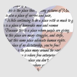 The USA Flag Poetry Art Poster Heart Sticker