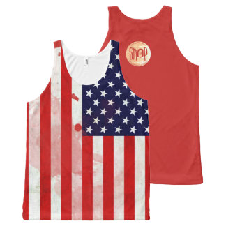 The USA Flag Unisex Grunge Series All-Over-Print Tank Top