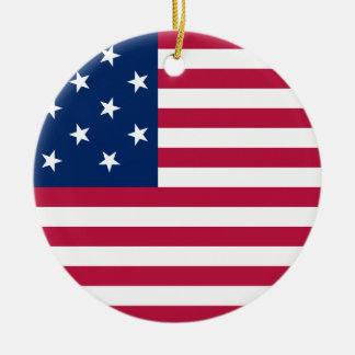 The USA Round Ceramic Ornament