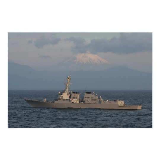 The USS McCAMPBELL with Mt. Fuji in the Background Poster