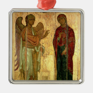 The Ustiug Annunciation, c.1130-40 (tempera on pan Silver-Colored Square Ornament