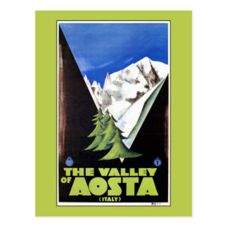 The Valley of Aosta Italy Alps travel poster Postcard