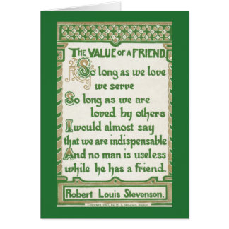 The Value of a Friend - Robert Louis Stevenson Card