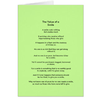 The Value of a Smile poem Card