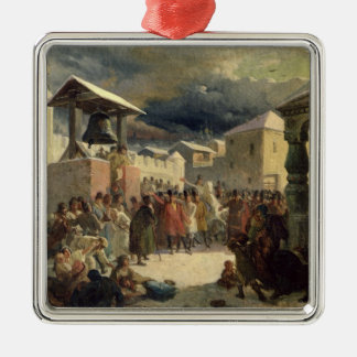 The Veche in the Republic of Novgorod, 1861 Silver-Colored Square Ornament