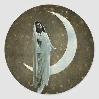 The Veiled Lady and the Crescent Moon Classic Round Sticker