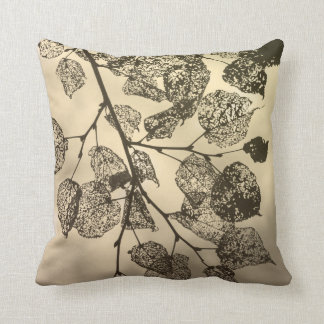 The veins of leaves silhouetted against the sky throw pillow