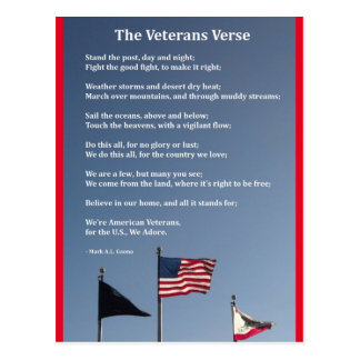 The Veterans Verse Postcard