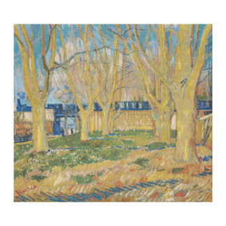 The viaduct in Arles blue train Vincent van Gogh Canvas Print