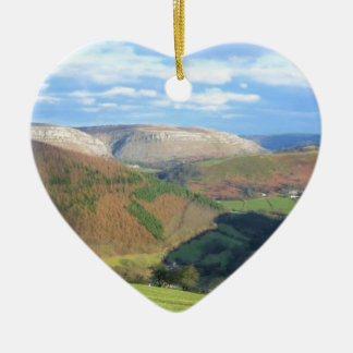The View from Mt Snowden, Wales Ceramic Heart Ornament