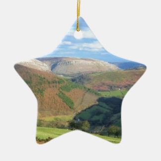 The View from Mt Snowden, Wales Ceramic Star Ornament