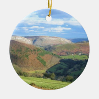The View from Mt Snowden, Wales Round Ceramic Ornament