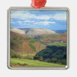 The View from Mt Snowden, Wales Silver-Colored Square Ornament