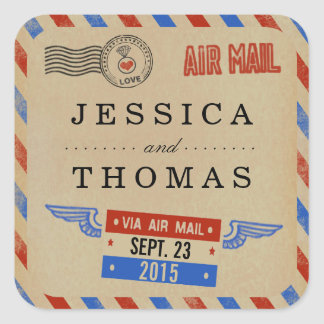 The Vintage Airmail Wedding Collection Square Sticker