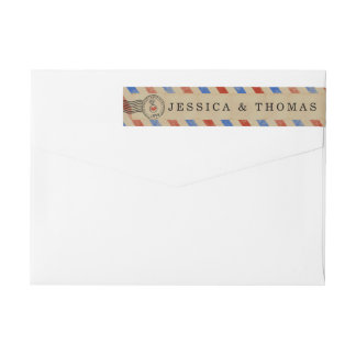 The Vintage Airmail Wedding Collection Wraparound Return Address Label