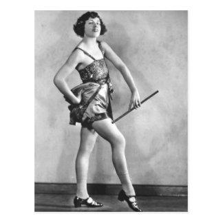 The Vintage Baton Twirler Vaudeville Dancer Postcard