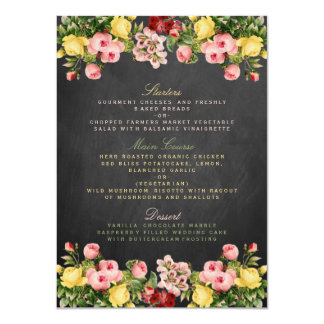 """The Vintage Floral Chalkboard Wedding Collection 4.5"""" X 6.25"""" Invitation Card"""