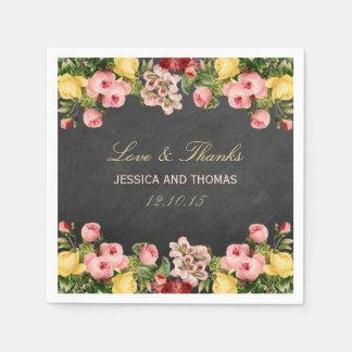 The Vintage Floral Chalkboard Wedding Collection Paper Napkins