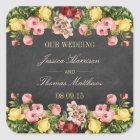 The Vintage Floral Chalkboard Wedding Collection Square Sticker