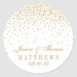 The Vintage Glam Gold Confetti Wedding Collection Round Sticker