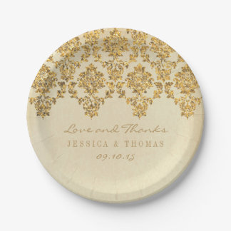 The Vintage Glam Gold Damask Wedding Collection 7 Inch Paper Plate