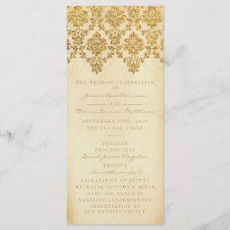 The Vintage Glam Gold Damask Wedding Collection Program
