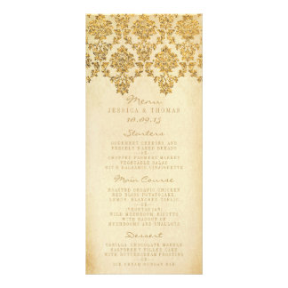 The Vintage Glam Gold Damask Wedding Collection Rack Card Template