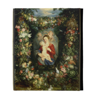 The Virgin and child in a garland of fruit and flo iPad Case