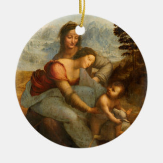 The Virgin and Child with St. Anne by Da Vinci Ceramic Ornament