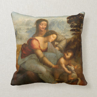 The Virgin and Child with St. Anne by Da Vinci Throw Pillow