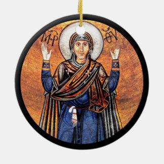 The Virgin Mary Oran Round Ceramic Ornament