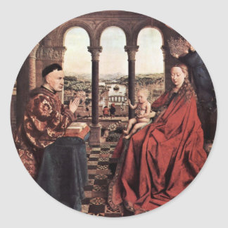 The Virgin Of Chancellor Rolin. By Jan Van Eyck  ( Classic Round Sticker