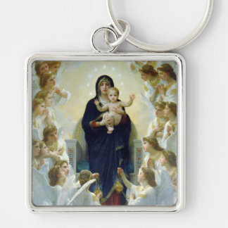 The Virgin With Angels, William Bouguereau Silver-Colored Square Keychain