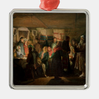 The Visit of a Sorcerer to a Peasant Wedding Silver-Colored Square Ornament