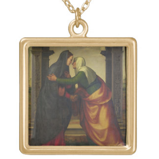 The Visitation of St. Elizabeth to the Virgin Mary Gold Plated Necklace
